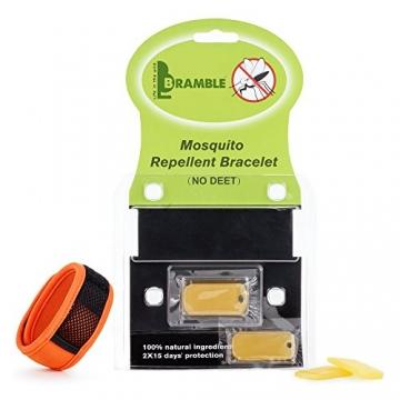 Bramble Premium Mückenschutz, abschreckendes Insekten-Armband mit zwei Nachfüllpackungen. Kann am Arm oder Knöchel getragen werden. Ohne Deet Spray (keine chemische Substanzen) Multi - Pack - 3